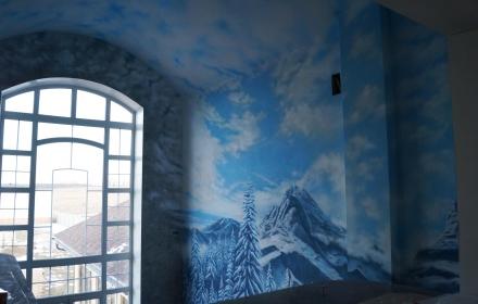 Художественная роспись стена потолок