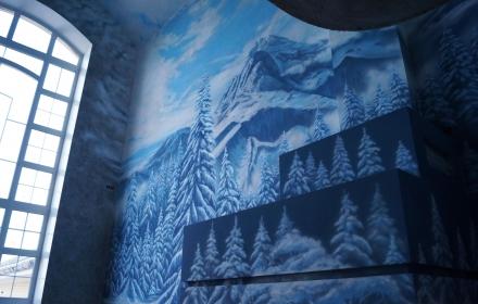 Художественная роспись стена камин