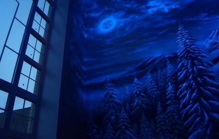 Флуоресцентная светящаяся роспись потолка и стен