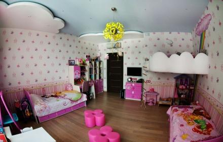 Потолок в детской комнате натяжной освещение