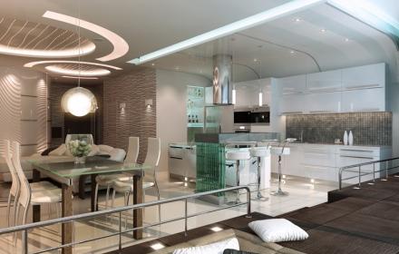Декоративное освещение интерьера потолок
