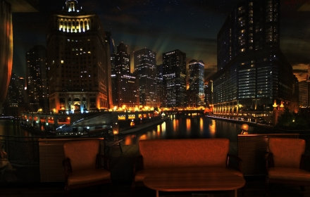 Светящееся панно ночной город