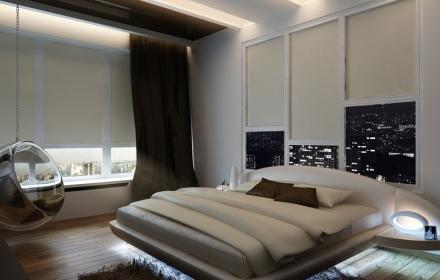 Декоративное освещение интерьера спальня